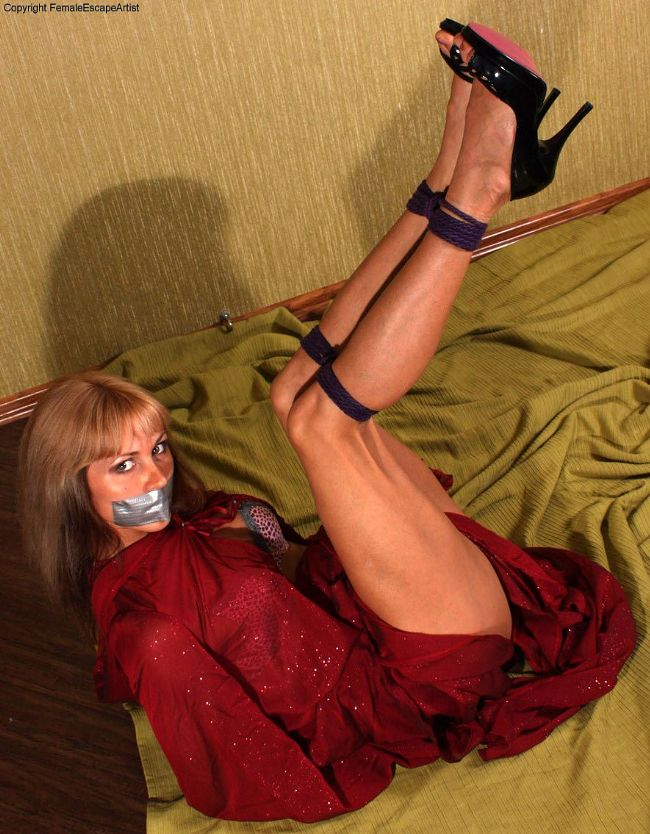 Delta's High Heel Rope Escape Challenge Bondage