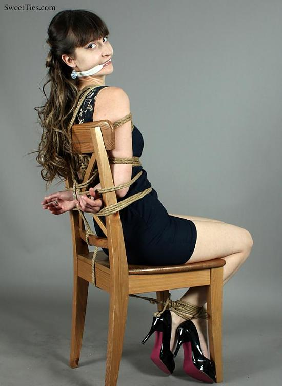 Secretary, Jessica, Tightly Roped to Her Chair in Her Little Black Dress & Stilettos